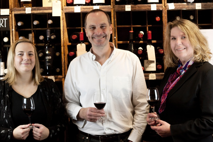 Jenni Palmer and Angela Metcalfe from our wine department, with drinks consultant Danny Cameron