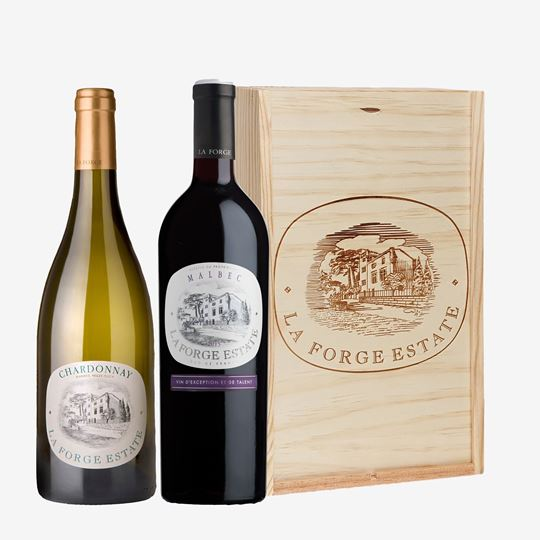Picture of LA FORGE ESTATE  MALBEC AND CHARDONNAY WOODEN GIFT BOX